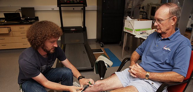 University of Washington Professor of Bioengineering Joan Sanders Lab testing the Prosthesis monitoring device on Ron Bailey of Federal Way, Washington, who lost part of his leg in an automobile accident