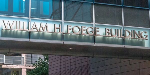 WH Foege Building sign