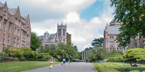 University of Washington students walking to class