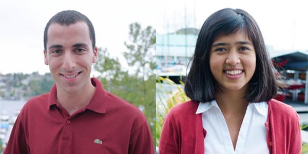 UW Bioengineering peer advisors Hani Mahmoud and Rachel Lucero
