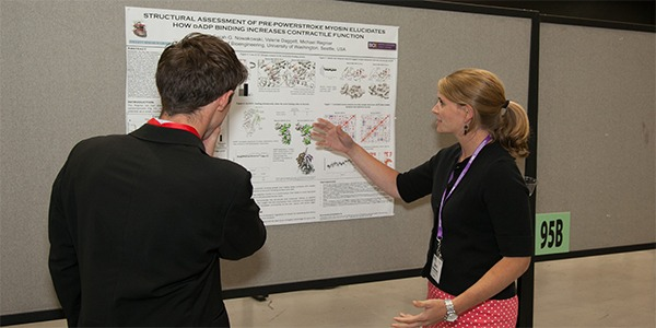 Students discussing research poster at BMES Seattle 2013