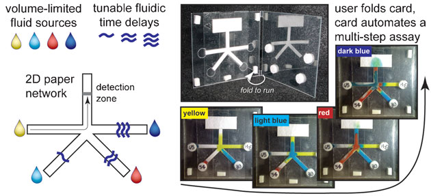 Demonstration of diagnostic device using sugar concentrations to delay fluid flow