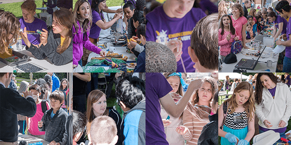 Composite image of UW Bioengineering students, faculty and staff leading youth outreach exercises at 2014 Engineering Discovery Days