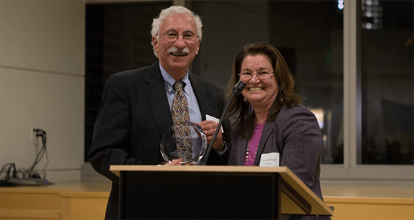 UW Bioengineering professors Buddy Ratner and Cecilia Giachelli at UW Medicine 2014 Inventor of the Year event