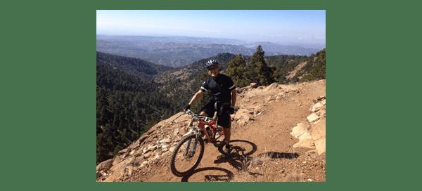 Mike Averkiou, UW Bioengineering faculty, on mountain bike