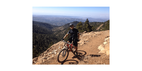 Mike Averkiou, UW Bioengineering faculty, on mountain bike