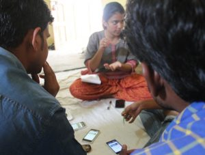 Krittika D'Silva leads a training session to get feedback on her app in the village of Dewas in central India.