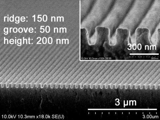 Scanning electron micropspoce image of Nano-grooved surface
