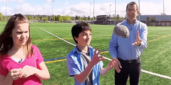 Eric Chudler tossed rubber brain to kid
