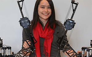 UW Bioengineering student Sharon Newman with RAVEN surgical robot