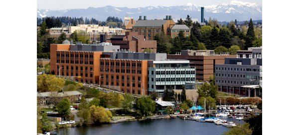 Aerial photo of UW Bioengineering W.H. Foege Building by Portage Bay