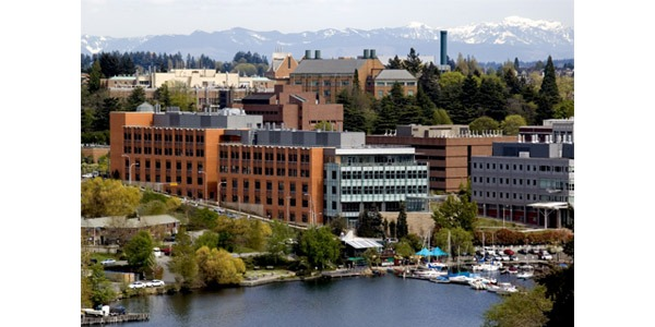 Aerial photo of UW Bioengineering W.H. Foege Building by Portage Bay