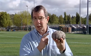 Eric Chudler holding a rubber brain
