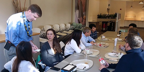 Students and faculty at BioEngage Meet and Eat 1 at Philips Ultrasound