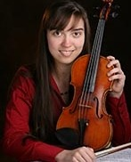 Bioengineering undergraduate Anastasia Nicolov with violin