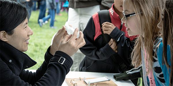 Bioengineering faculty member leading outreach learning module