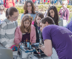 Bioengineering student leading outreach activity
