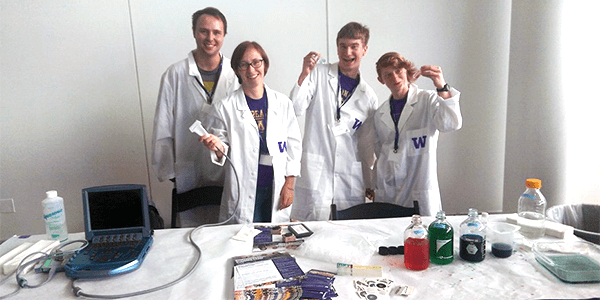 BioE students demonstrating learning modules for nanoparticle synthesis and ultrasound