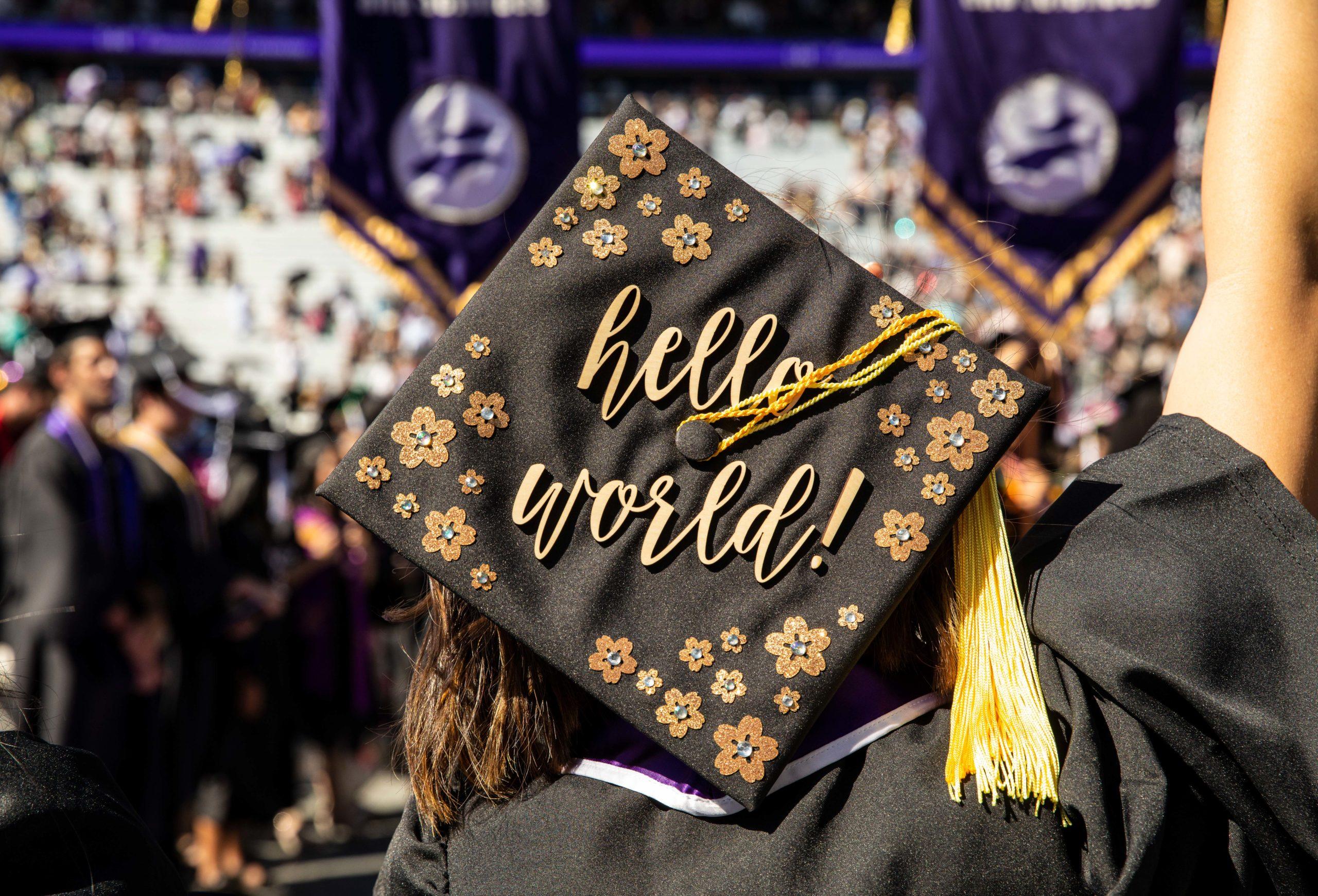 Hello World written on UW graduation cap