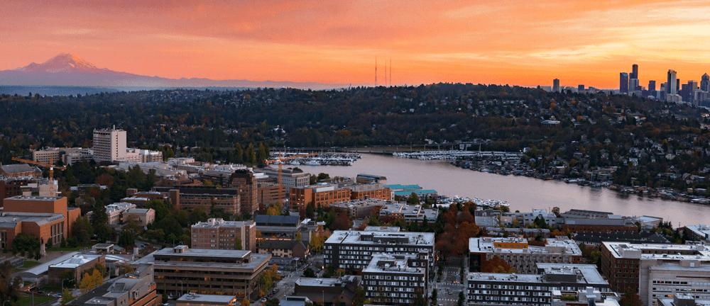 UW skyline at sunset
