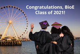 Graduates looking at Seattle waterfront