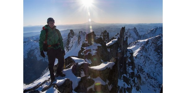 UW master's studnet Dylan Guelig on Dragontail Peak in Washington
