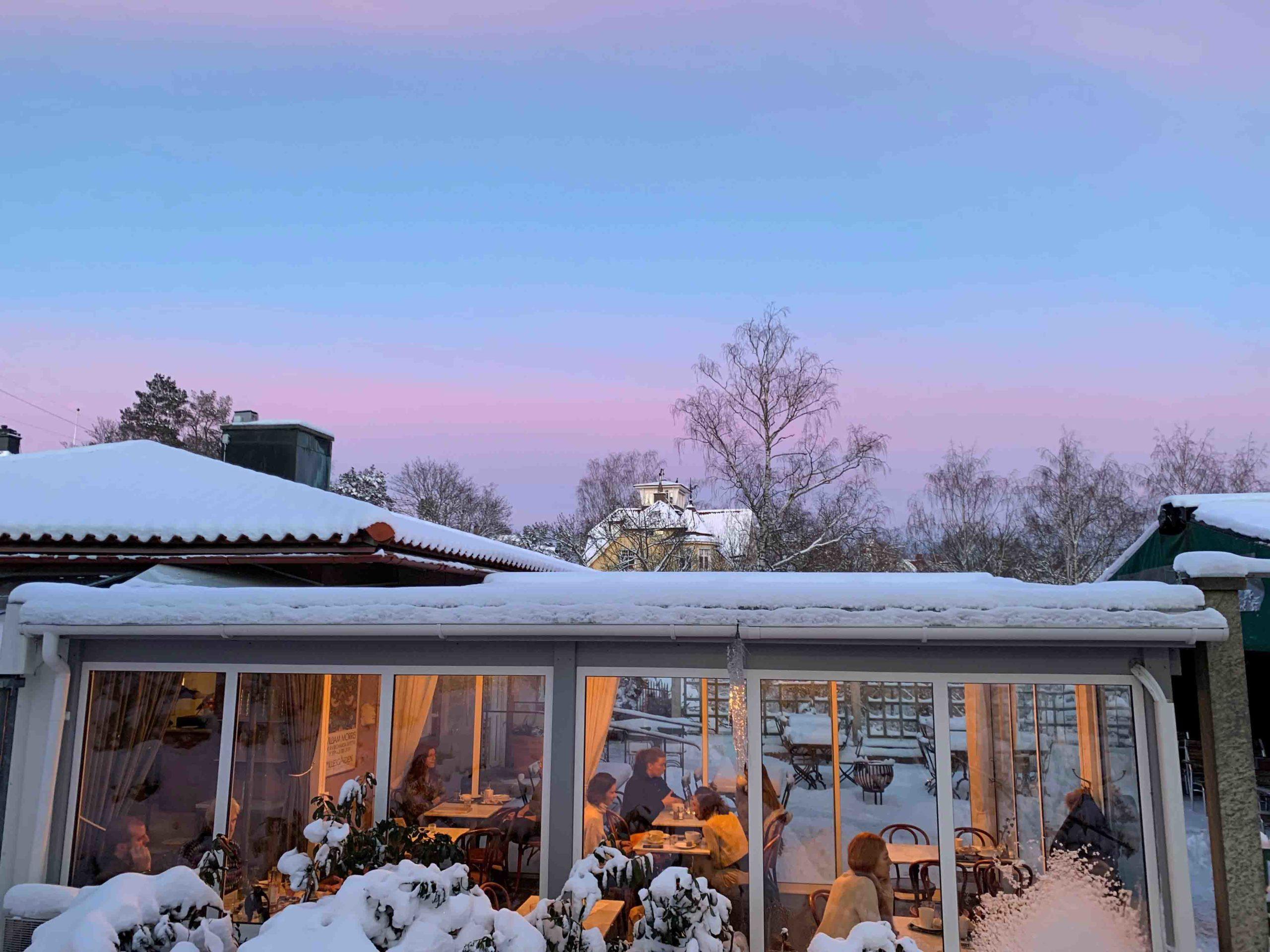 snowy exterior of restaurant in Sweden