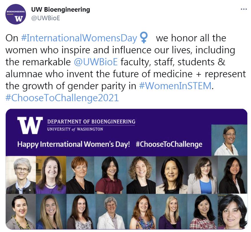 Intl Women's Day Tweet from UW BioE