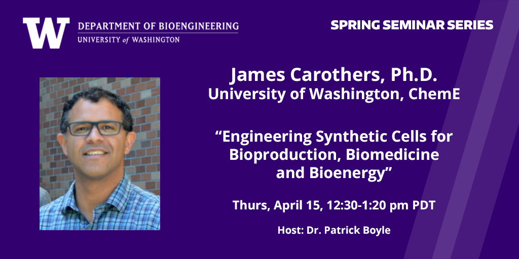 photo of James Carothers, UW ChemE and talk details