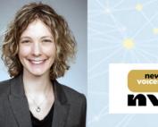 Kelly Stevens headshot and New Voices logo
