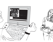line drawings of student at computer, PT with student