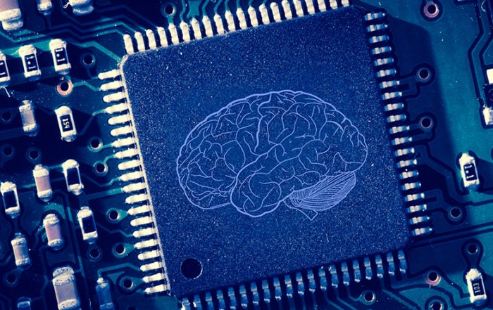 Printed brain on circuitboard