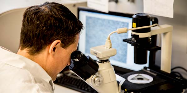 Student working with microscope in a lab