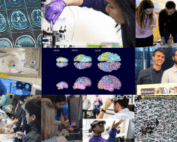 Graphic showing research and students featured in Winter/Spring eNews