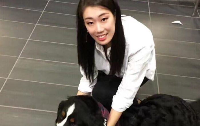girl, dog