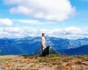 hiking, man, dog, mountains