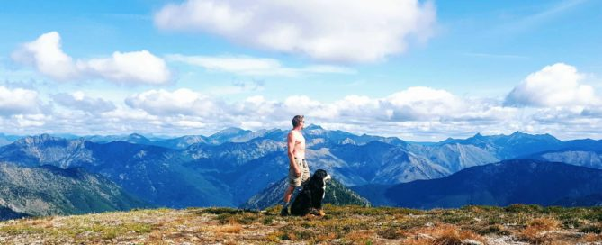 hiking, man, dog, mountains