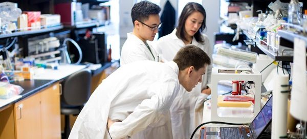 Students working in a research lab